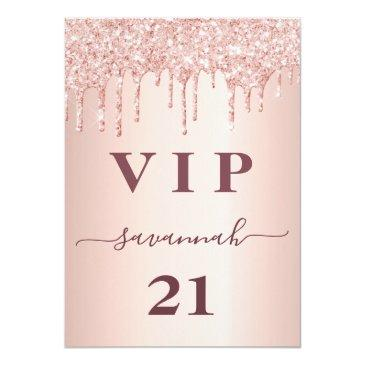 Small Birthday Rose Gold Glitter Drips Pink Glam Vip Badge Front View