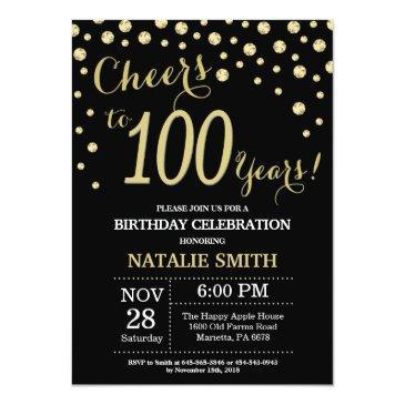 black and gold 100th birthday diamond invitation