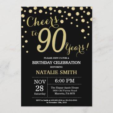 black and gold 90th birthday diamond invitation