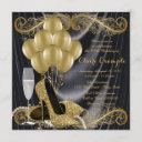 black and gold birthday party hollywood glamour invitation