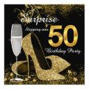 black and gold stepping into 50 birthday party invitation