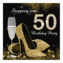 black and gold stepping into 50 birthday party invitations