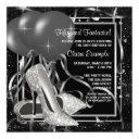 black and white high heels womans birthday party invitations