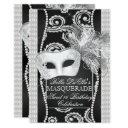 black and white pearl masquerade invitation