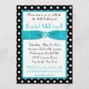 black and white polka dot 30th birthday invitation
