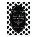 black and white polka dot party invitation