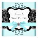 black damask teal black sweet 16 birthday party invitations