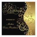 black & gold 85th birthday party invitation