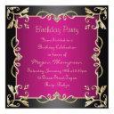 black/gold & hot pink swirl birthday invitation