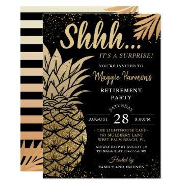 black gold pineapple surprise retirement party invitation