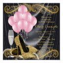 black gold pink birthday party hollywood glamour invitation