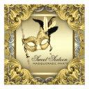 black gold silver sweet sixteen masquerade party invitation