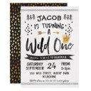 black gold wild one boys 1st birthday invitation