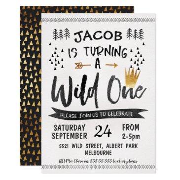 black gold wild one boys 1st birthday invitation