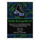 black/green roller skating party invitation