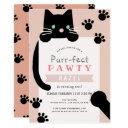 black kitty cat girl pink birthday invitation
