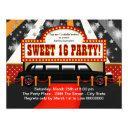 black limo movie star sweet 16 party invitation