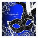 black mask royal blue masquerade party invitation