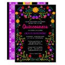 black mexican fiesta folk art floral quinceanera invitation
