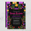 black mexican fiesta folk art floral sweet sixteen invitation
