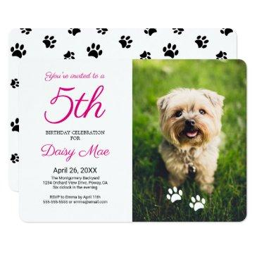 black paw prints pet birthday photo invitation