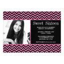 black pink faux glitter chevron sweet 16 photo invitation