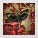 black red and gold maquerade party invitation
