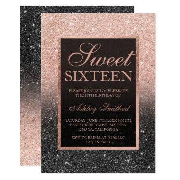 black rose gold glitter elegant chic sweet 16 invitations