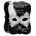 black silver damask mask masquerade sweet 16 invitations