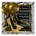black silver gold high heels womans birthday party invitations
