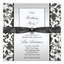 black tie damask womans 21st birthday party invitation