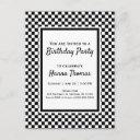 black white checkerboard birthday invitation postc