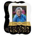 black, white, gold 65th photo birthday invitation