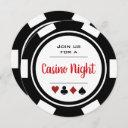 black white poker chip casino night birthday invitation