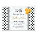 black white polka dot rose birthday party invitation