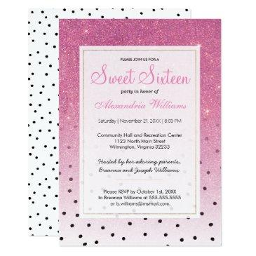 black white polka dots pink ombre glitter sweet 16 invitations