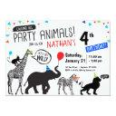 black white wild party animal birthday invitation