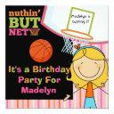 blond girl basketball birthday invitation