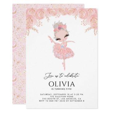 blonde ballerina in pink dress floral birthday invitation