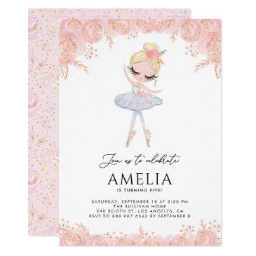 blonde ballerina in white dress floral birthday invitation