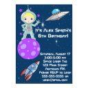 blonde girl astronaut birthday invitation