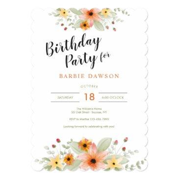 blossoms in watercolor birthday party invitation
