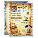 blue ahoy treasure map boys pirate birthday invitations