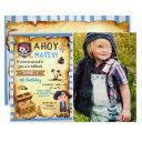 blue ahoy treasure map boys pirate photo birthday invitations