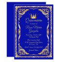 blue and gold with crown quinceanera invitation