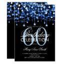 blue any age birthday string lights & stars invitation