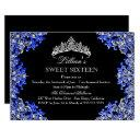 blue & black damask tiara sweet 16 invitation