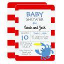 blue crab nautical baby shower invitations