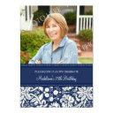 blue damask photo 75th birthday party invitations