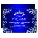 blue damask tiara sweet 16 invitation